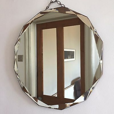 VINTAGE Bevelled Frameless ROUND MIRROR 12-Sided 1930s 40s Original Chain 38cm