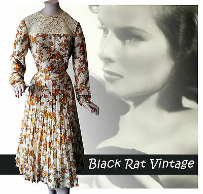 Vintage 1940 Lemon Graphic Print Pleated Lace Trim 'Agent Carter' Tea Dress UK14