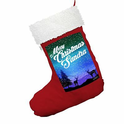 Personalised Merry Christmas Deer Red Christmas Stocking With White Faux Fur
