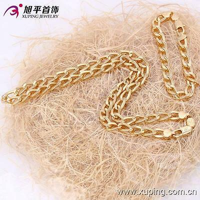 18k ct Gold Filled Fashion Chain Link Men's Necklace Bracelet set -L50cm