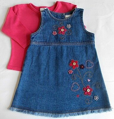 Next baby girl dress top outfit set pink blue denim 6-9 month