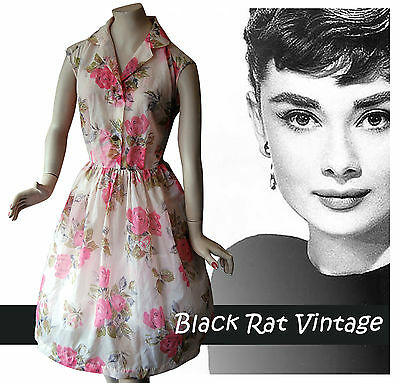 Vintage 1950 Delicate Chiffon Shirtwaist Swing Antique Rose Print Pink Dress 14