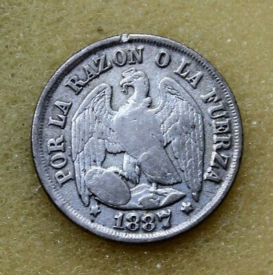 Republic Chile 1887 Un 1 Decimo Silver Coin D7