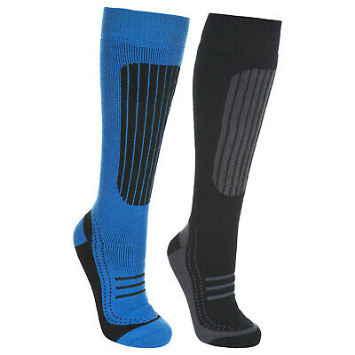 Trespass  Langdon II Mens Ski Socks 2 Pack Longer Length Black Socks