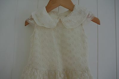 (preloved kids)  Forever Baby Vintage Style Lace Dress Peter Pan Collar Size 1