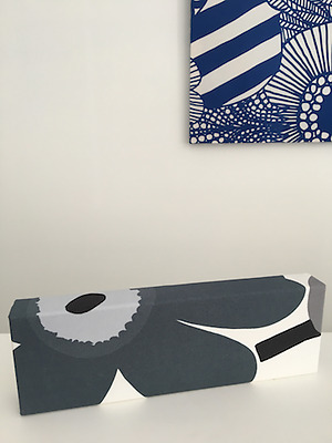 Marimekko Hand Made Unikko Grey Fabric Panel Interior Decoration Finland