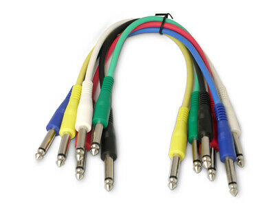 6 Mono Straight Jack Patch cables. Guitar effects FX Pedal Leads Studio patchbay