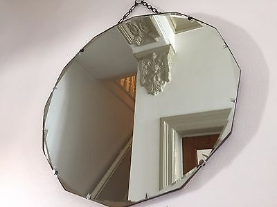 VINTAGE Bevelled Frameless ROUND MIRROR 12-Sided 1930s 40s Original Chain 46cm