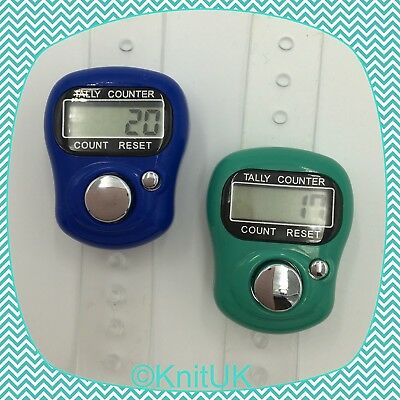 Digital Knitting Row-counter: LCD Tally Counter. 2 Pack (Blue & Teal)