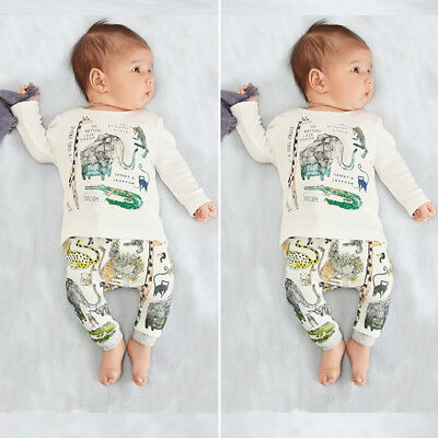 US FAST Newborn Baby Boys Girls Tops+Trousers 2PCs Set Animal Print Clothes 0-3Y