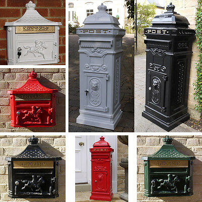 Victorian type Wall Standing Post Box Letterbox mailbox Flat Aluminium Lockable