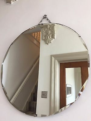True VINTAGE Bevelled Frameless ROUND Wall MIRROR 1930s 40s Original Chain 51cm