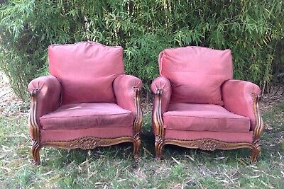 French Antique Vintage Pair Of Upholstered Louis Xv Style Armchairs.