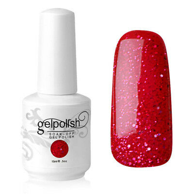 Soak Off UV LED Gel Polish 15ml Color Coat Manicure Varnish uk 1550 Red Glitter
