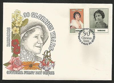 Barbados 1990 Queen Mother set on FDC
