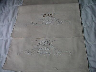 Antique Italian Linen Runner Fancy Urn Embroidery Unused
