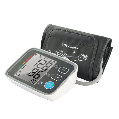 LCD Professional Automatic Upper Arm Blood Pressure Heart Beat Rate Cuff Monitor
