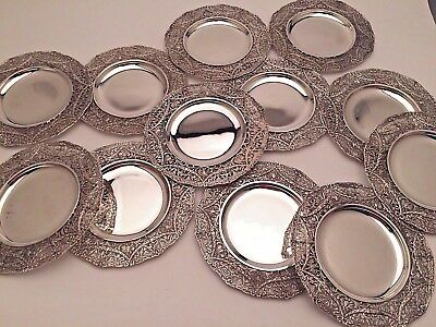 Wyler of New York set of 12 Sterling Silver Bread Plates Ornate Border