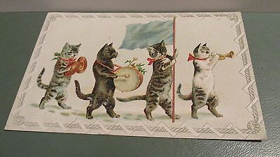 4 Cool Musical Cats - Antique Advertising Card For Lion Coffee