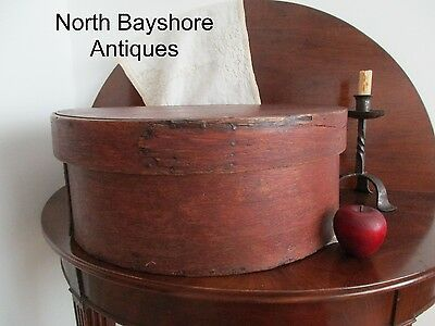 Antique 1790 Massive Paint Decorated Rose Head Nails Pantry Wood Cheese Box aafa