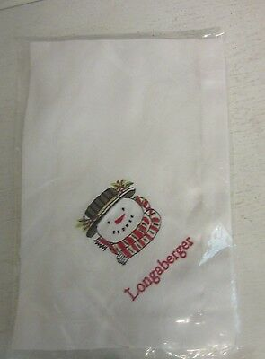 Longaberger Embroidered 18 x 18 Snowman Napkin NEW