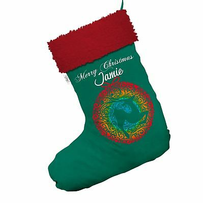 Merry Christmas Deer Bauble Personalised Green Christmas Stockings With Red Trim
