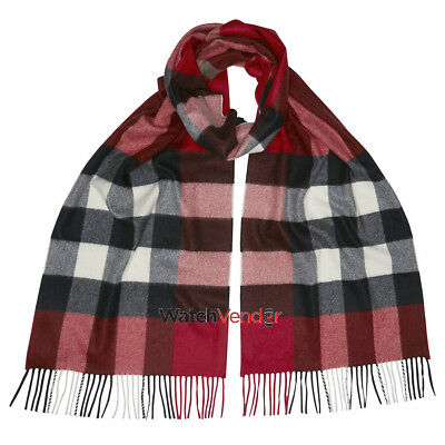 Burberry The Large Classic Cashmere Scarf in Check - Parade Red Check