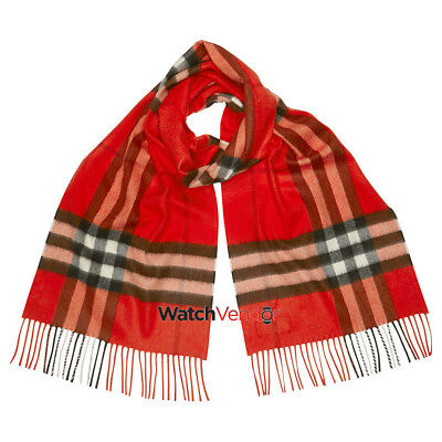 Burberry The Classic Cashmere Scarf in CHeck - Bright Orange Red