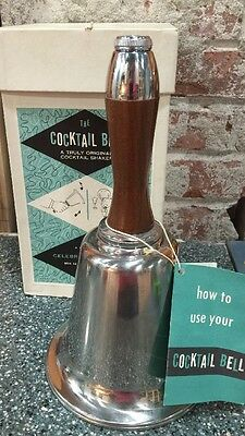 VINTAGE NEW Chrome & Wood Town Crier Bell Cocktail Shaker -Art Deco -Barware