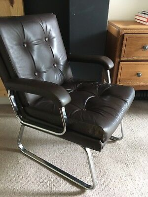 Mid Century Chrome And Leather Danish Style Chair