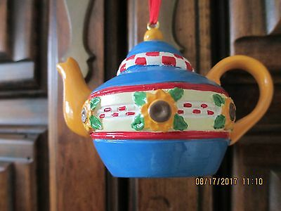 Mary Engelbreit Ink Teapot Blue With Checks & Flowers  Ornament