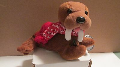 Coca-Cola Walrus Bean Bag Plush Toy, Holding Coke Bottle And Wearing Scarf