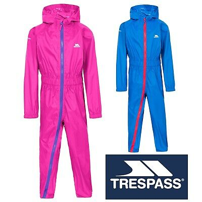 Trespass Boys Girls Rainsuit Waterproof Hooded All in One Suit Blue Pink Button