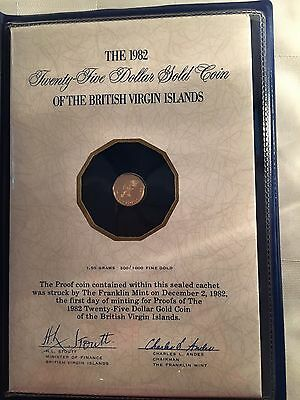1982 Gold British Virgin Islands 25 Dollars Gold Proof Coin 1.5 Grams