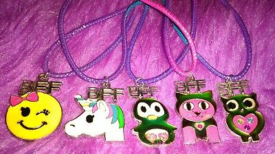 Justice BFF Rainbow Necklaces Unicorn, Emoji, Cat, Owl And Penguin LOT OF 5