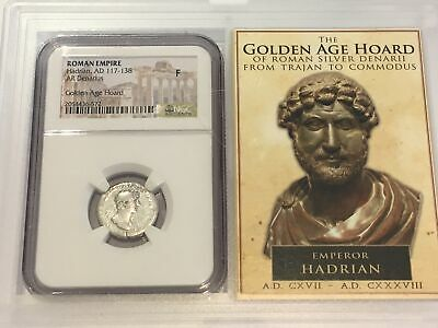 AR Denarius Roman Empire NGC Ancients Fine Hadrain Golden Age Hoard