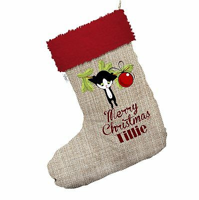 Personalised Cat Mistletoe Hessian Christmas Stockings With Red Trim