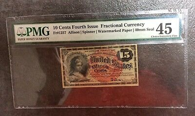 10 cent FOURTH 4th ISSUE Fractional U.S. Currency FRN #1257 Mono PMG 45 EPQ CEF