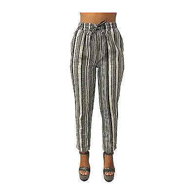 LA FEE MARABOUTEE women's trousers with elastic and snare striped white black