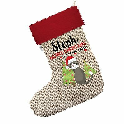 Merry Christmas Cat With Trees Personalised Hessian Christmas Stockings Red Trim