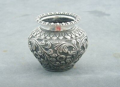 INDIAN COLONIAL SILVER MINIATURE VASE REPOUSSE DECORATION HEAVY c1890