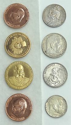 Eight Piece Bronze & Silver German Coin & Medallion Collection from 1901-1988
