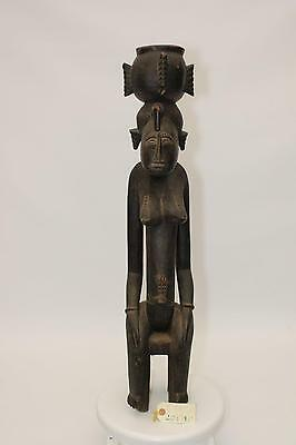 African Tribal - 1760 SENUFO FEMALE PORTRAIT FIGURE WITH POT, Cote D'Ivoire
