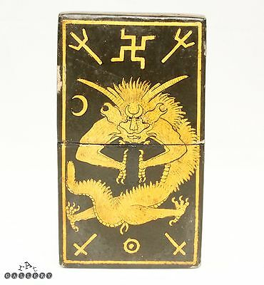 Victorian Occult Witchcraft Magic Symbols Lacquered Calling Card Case - 19th C