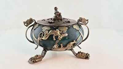 Antique Chinese Jade And Gilt Silver Incense Burner