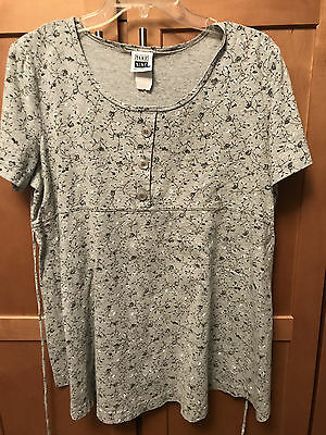 Take Nine Maternity Top Knit Shirt Gray Heather Floral Size XL String Tie Back