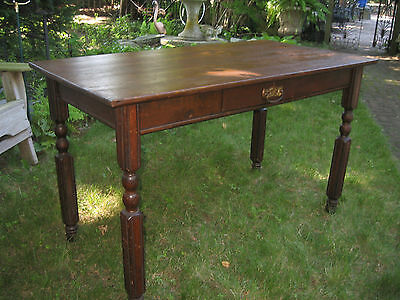 ANTIQUE VINTAGE SOLID OAK 1 DRAWER COUNTRY TABLE FARM HOUSE 1800s SCRUB LAUNDRY
