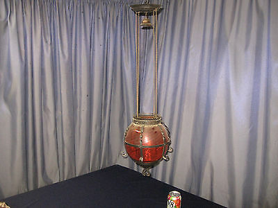Antique Cranberry Victorian Art Glass Hanging Pull Down Oil Lamp  Lantern AS IS