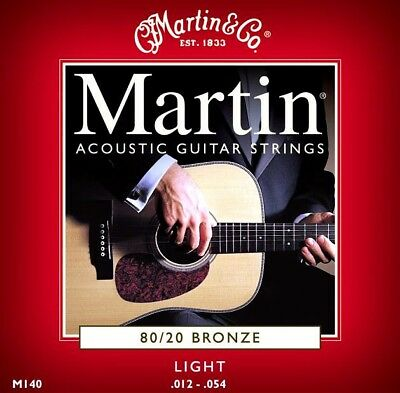 Martin M140 Light Gauge High Quality Strings for Acoustic Guitar .12-.54