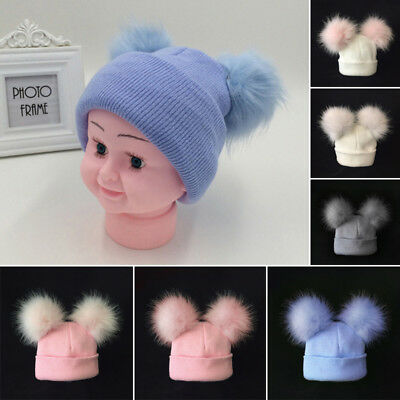 Stunning Baby Faux Raccoon Fur Pompom Hat Double Fur Pom Knitted Beanie Hat Cap